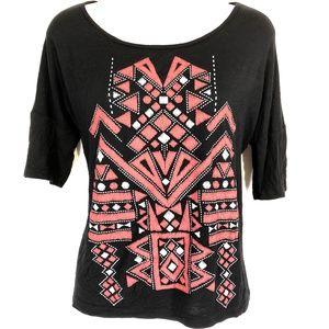 MAUVE Black & Pink Knit Stretch Top Shirt Blouse M